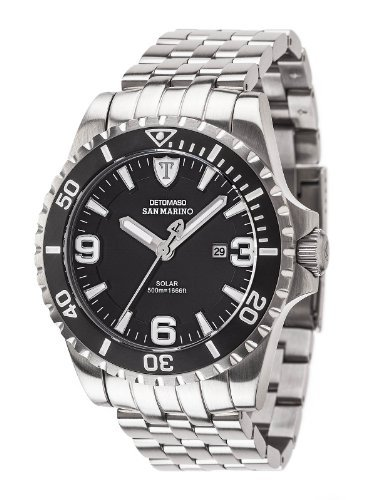 Detomaso Men's DT1053-C San Marino Solar Divers  Trend Schwarz/Silber Analog Display Japanese Quartz Silver Watch