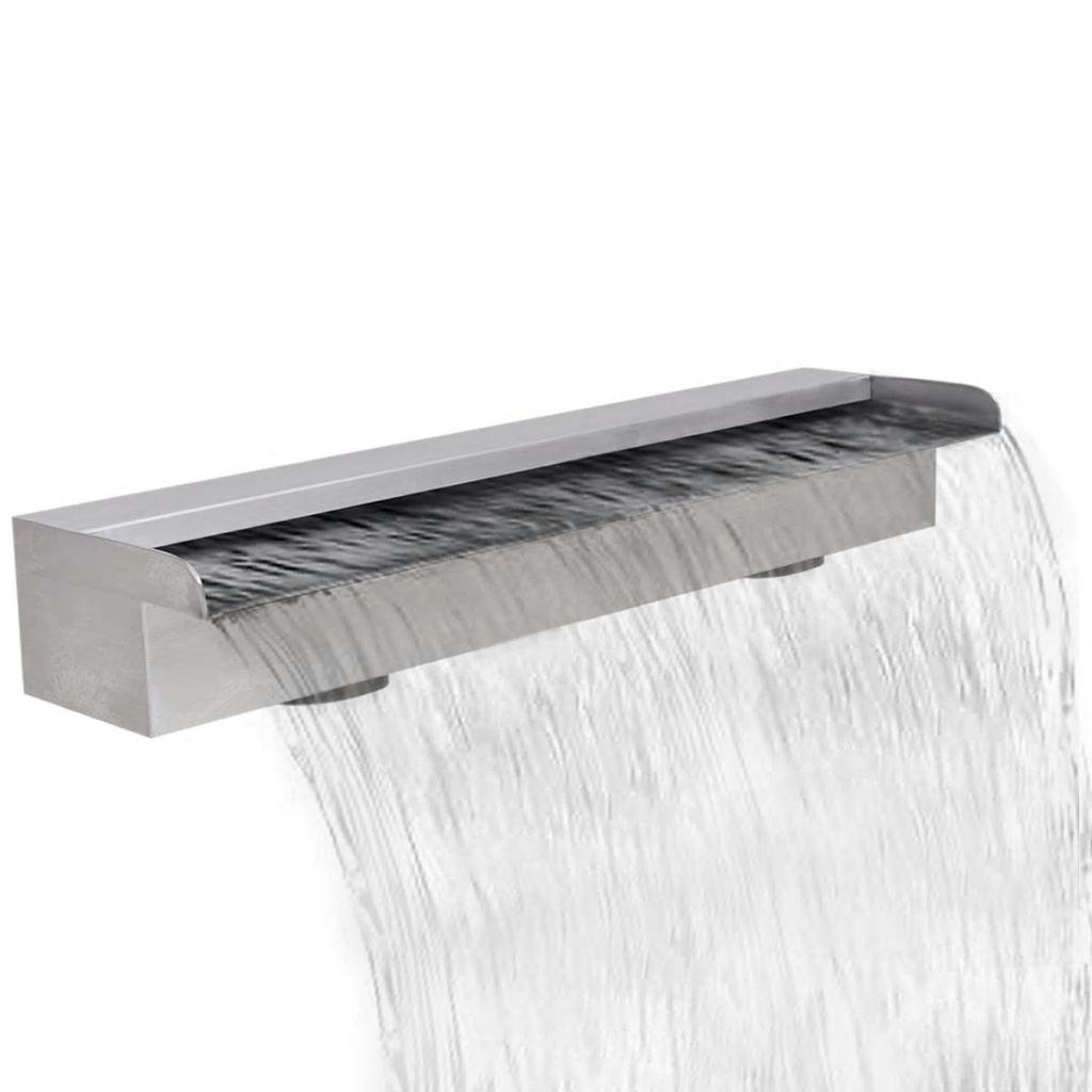 Tidyard Outdoor Waterfall Pool Fountain, Rectangular Pond Fountain Stainless Steel 23.6'' by Tidyard