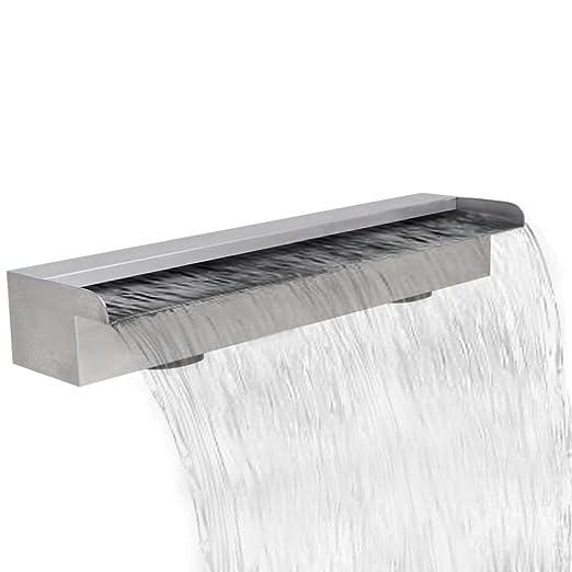 Fuente rectangular de acero inoxidable para piscina, 60 cm 60 x 11,5 x 8 cm