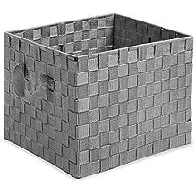 Whitmor Woven Strap Storage Crate Grey