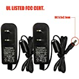 2-Packs AC to DC 12V 1.5A 12V1.5A Power Supply Switching for DVR NVR Cameras LED Light Strips DC5.5×2.1mm UL Listed FCC