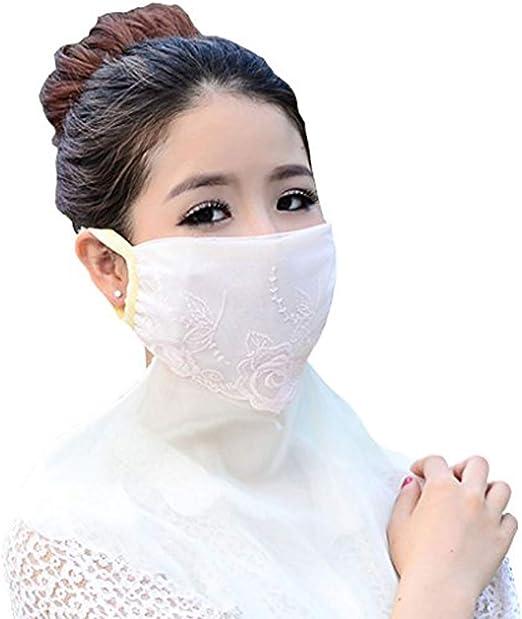 Transpirable cara boca máscara, paciffico cuidado de la piel máscara de gasa Protector solar plegable cuello Oversized anti UV máscaras para al aire libre conducción pesca, creamy-white, talla única: Amazon.es: Deportes y
