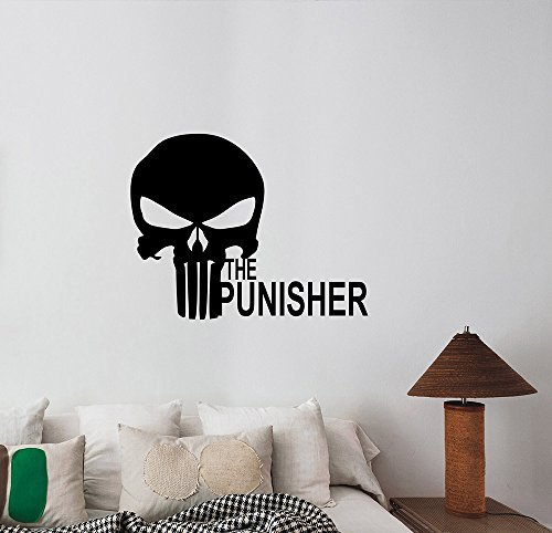 The Punisher Logo Skull Wall Decal Vinyl Sticker Marvel Anti Hero Art Decorations for Home Housewares Kids Boys Room Bedroom Playroom Movie Decor - Custom Frank Glasses