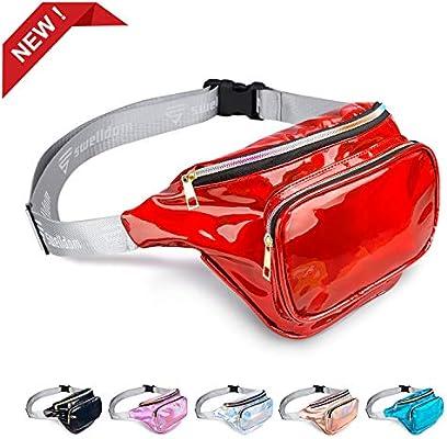 Women Shiny Neon Fanny Pack Waist Belt Bag Zipper Fashion Waterproof Beach Purse