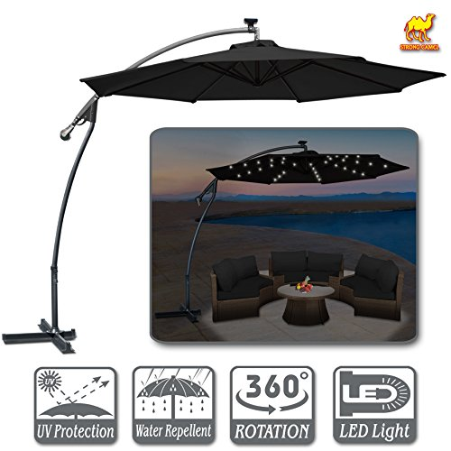 Strong Camel 10′ LED Patio Umbrella OffSet Banana Cantilever Hanging Parasol