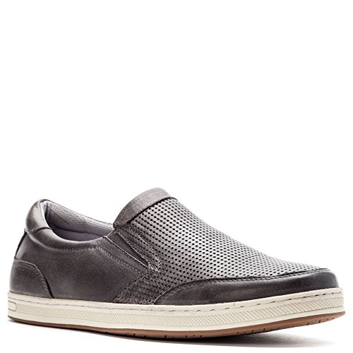 (Propet Men's Logan Slip On Sneakers, Grey Nubuck, Nylon, Polyurethane, Rubber, 13 XX-Wide)