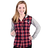 NFL New England Patriots Womens NFL Women's Lightweight Flannel Hooded Jacket, Large