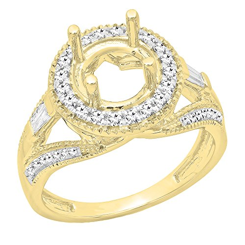 0.30 Carat (ctw) 14K Yellow Gold Round & Baguette Diamond Bridal Semi Mount Ring 1/3 CT (Size 10)