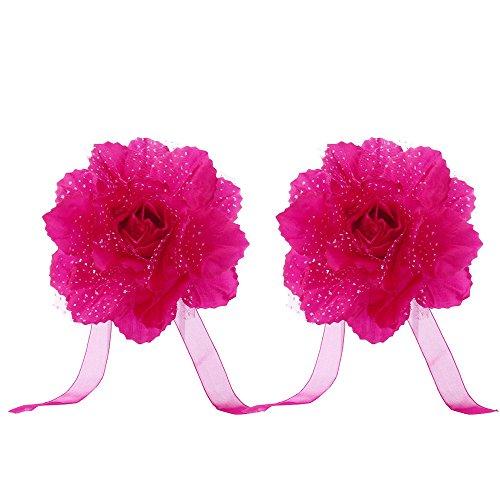 Celiy  2Pcs Best Peony Flower Curtain Clip-on Tie Backs Holdback Tieback Holder Panel ()