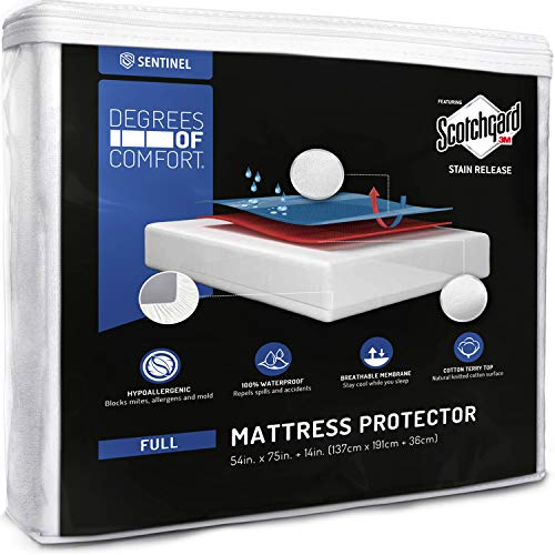 (Degrees of Comfort Waterproof Mattress Protector - Breathable Deep Pocket Bed Cover with 3M Scotchgard Stain Release Technology |Protect from Urine, Spills and Any Liquid |Full Size)