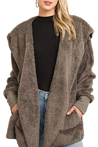 Hem and Thread Women's Fashion Long Sleeve Hooded Open Front Fluffy Oversized Soft Fur Jacket with Pockets Cozy Warm Winter (Steel Grey)