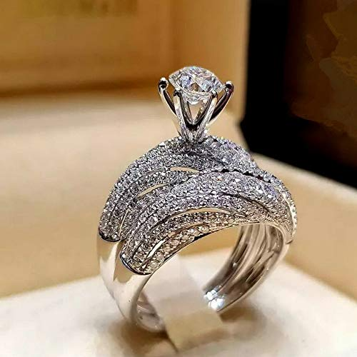 (Dokis Fashion 925 Silver Round Cut Sapphire Women Wedding Ring Jewelry Size 6-10 | Model RNG - 3835 |)