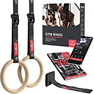 Gymnastic Rings Set Wood + Door Anchor Attachment, Exercise eBook & Adjustable Safety Straps + Length Mark