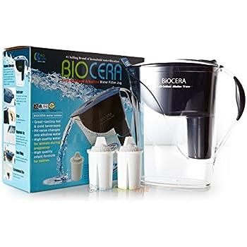 BIOCERA Alkaline Anti-Oxidant Jug Filter (Includes 2 FREE Cartridges - Lasts 4 Months)