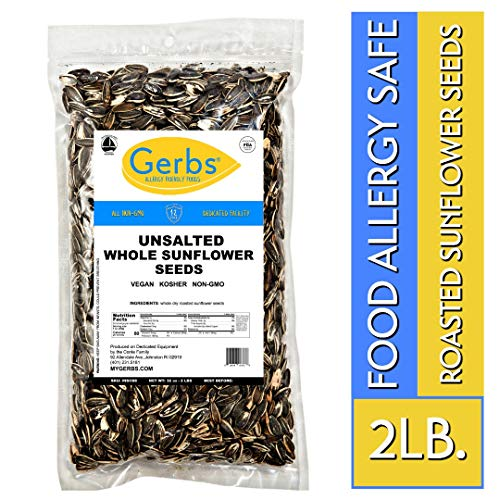 (Unsalted Roasted Sunflower Seeds - 2 LBS by Gerbs - Top 14 Food Allergen Free & NON GMO - Vegan, Keto Safe & Kosher - In Shell Grown in USA)
