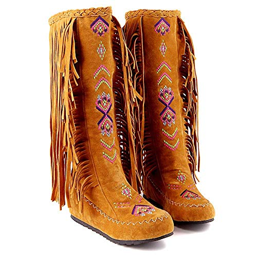 Winter Knee High Boots Fashion Nation Style Women Fringe Flat Heels Long Boots from VEZAD
