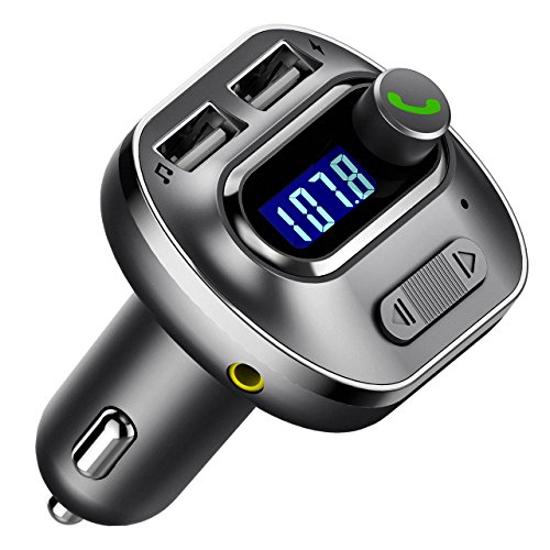 VicTsing V4.1 Bluetooth FM Transmitter for Car, Wireless Radio Transmitter Adapter with USB Port, Music Player Support Aux Output, TF Card and U-Disk, Hands Free for iPhone, Smartphones, Grey