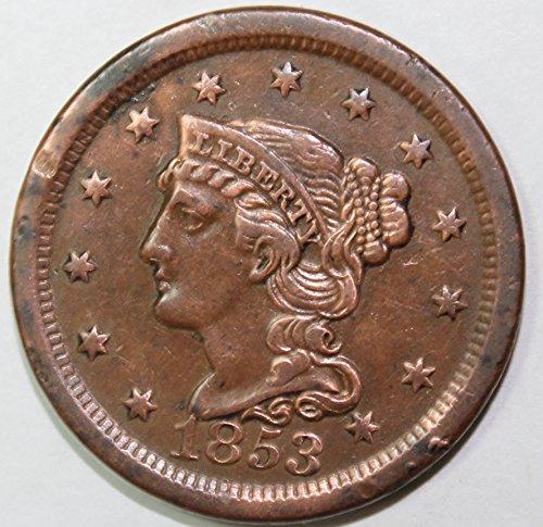 1853 Large Cent - 1853 P Large Cent 1c AU RB