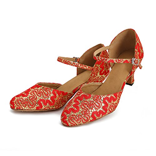 Minitoo - salón mujer Red/Gold-6cm Heel