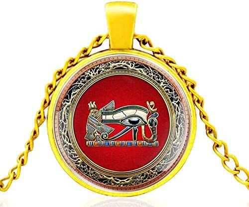 SWAOOS Ancient Egyptian Mystery Eye of Horus Glass Dome Metal Classic Necklace Pendant Chain Choker for Men and Women Jewelry Gift
