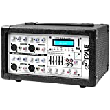 Pyle PMX402M 400-Watt 4-Channel Powered Mixer with Aux (3.5mm) Input, USB/SD Readers, Headphone Jack