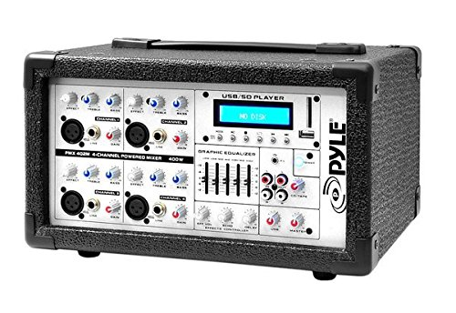 Ipod 2 Channel Mixer (Pyle PMX402M 400-Watt 4-Channel Powered Mixer with Aux (3.5mm) Input, USB/SD Readers, Headphone Jack)