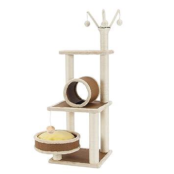 YNZYOG Árbol del Juego del Gato y Marco Que Sube de la Torre Clase de la Calidad Sisal Rope Beige 41 * 41 * 118cm: Amazon.es: Jardín
