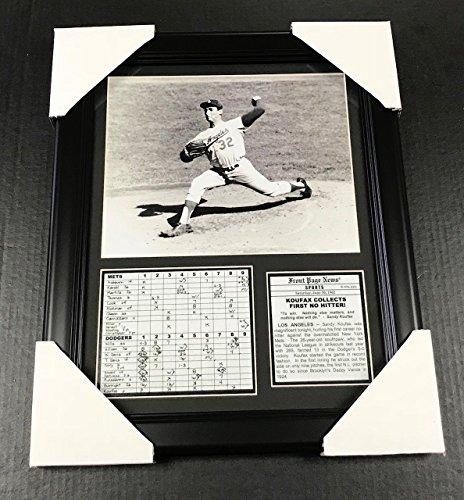 11X14 FRAMED SANDY KOUFAX NO HITTER PHOTO SCORECARD BROOKLYN DODGERS 8X10 (Dodgers No Hitters)