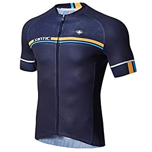 SANTIC Cycling Jerseys Men's Short Sleeve Bike Shirts Full Zip Bicycle Jacket With Pockets Navy M