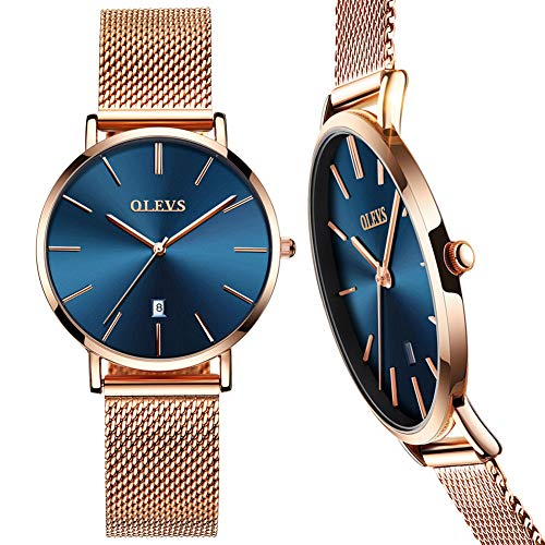 Ultra Thin Watches for Women,Rose Gold Steel Mesh Watch,Ladies Waterproof Dress Wrist Watch,Blue Face Watch Women with Day, Minimalist Gold Watches Womens,Female Watches on Sale Clearance,reloj mujer