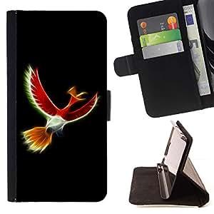 For Samsung Galaxy J1 J100 Case , Pájaro Rojo Místico- la tarjeta de Crédito Slots PU Funda de cuero Monedero caso cubierta de piel
