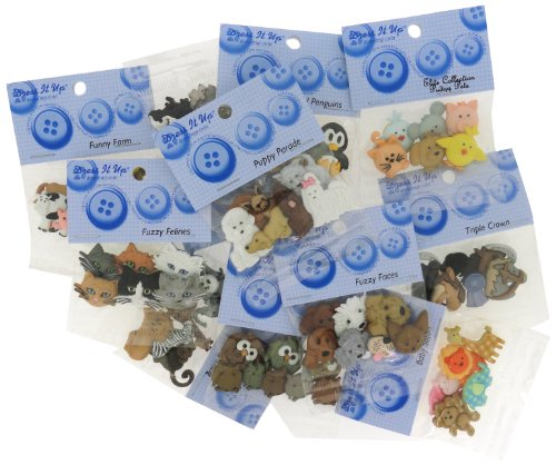 DRESS IT UP BUTTONS Animal 12 Pack Assortment