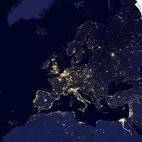 CANVAS ON DEMAND Satellite View of City Lights in Several European and Nordic Cities Wall Peel Art Print, 20