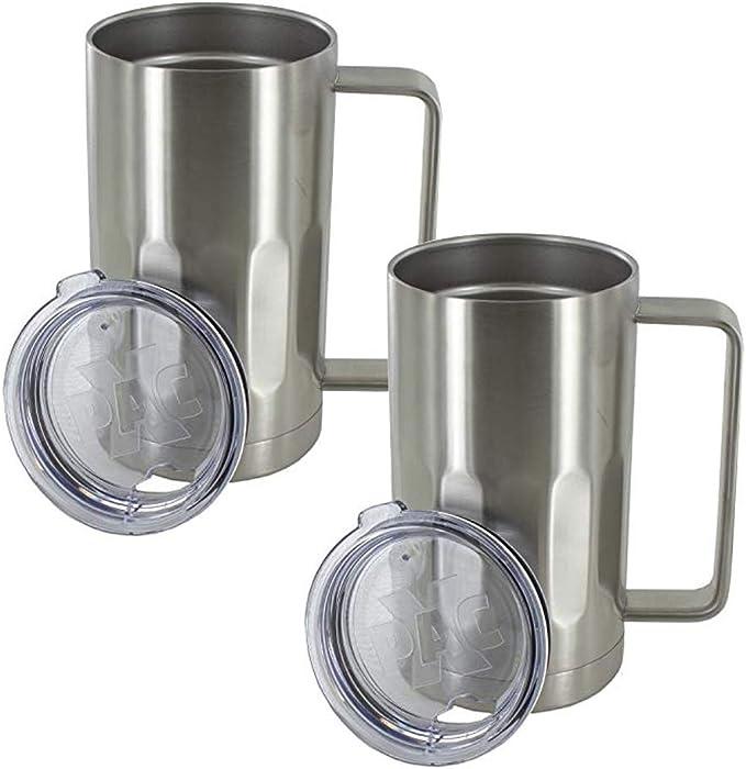 2x Stainless Steel Double Wall Beer Mug Vodka Water Milk Drinking 10oz