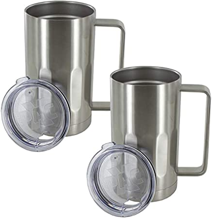 Stainless Steel Beer Mug With Lid 20 Ounce Double Walled Vacuum Insulated Beer Mug By Maxam Shatterproof And Spill Resistant 2 Pack Beer Mugs Steins Amazon Com