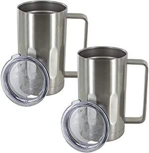 Stainless Steel Beer Mug with Lid - 20 Ounce Double Walled Vacuum Insulated Beer Mug by Maxam - Shatterproof and Spill Resistant, 2 Pack