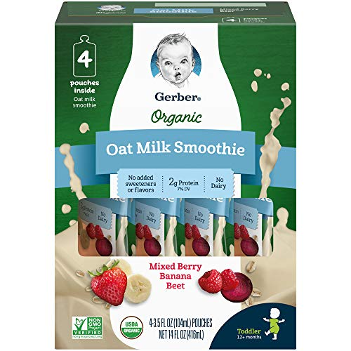 Gerber Purees Organic Oat Milk Smoothie Mixed Berry Banana Beet, 4Count