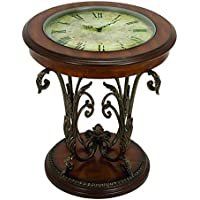 Deco 79 13909 Metal/Wood Table with Clock, 24x22
