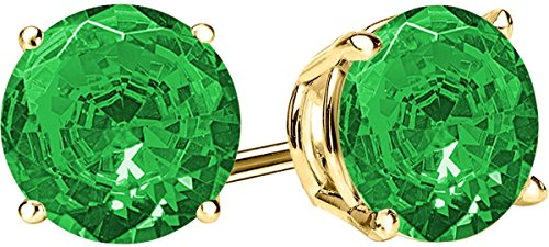 1/2 0.5 Carat Total Weight Emerald Solitaire Stud Earrings Pair 14K Yellow Gold Popular Premium Collection Push - Yellow Gold Emerald Earings