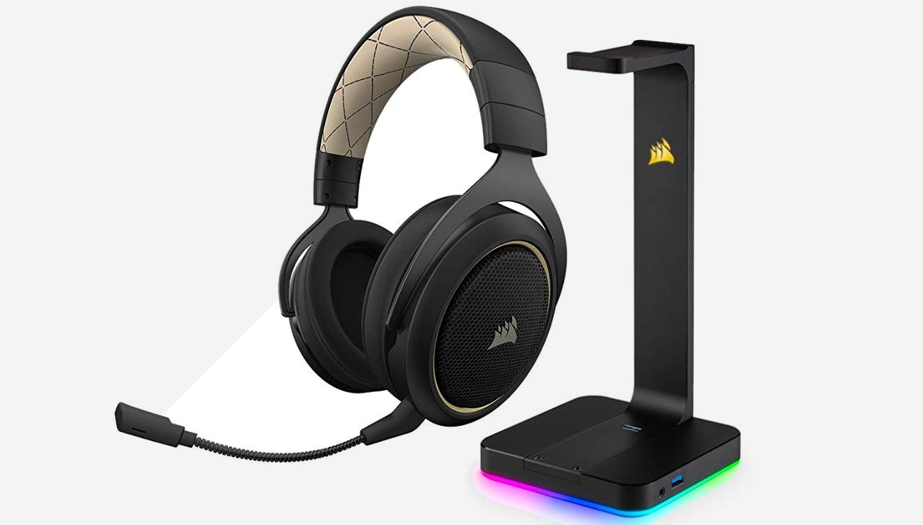 CORSAIR HS70 SE WIRELESS Gaming Headset, Cream and CORSAIR ST100 RGB - Premium RGB Gaming Headset Stand with 7.1 Surround Sound Headphone Audio   - 3.5mm jack and 2x USB 3.1 ports