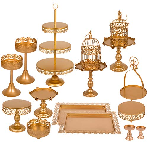 Happybuy Set of 14 Antique Metal Cake Stand Set 3-Tier Tower Cake Plate Cupcake Base Basket Dessert Cage Cupcake Stands Pastry Cake Holder for Wedding Birthday Party (14PCS, Gold) (Stand Candle Choice)