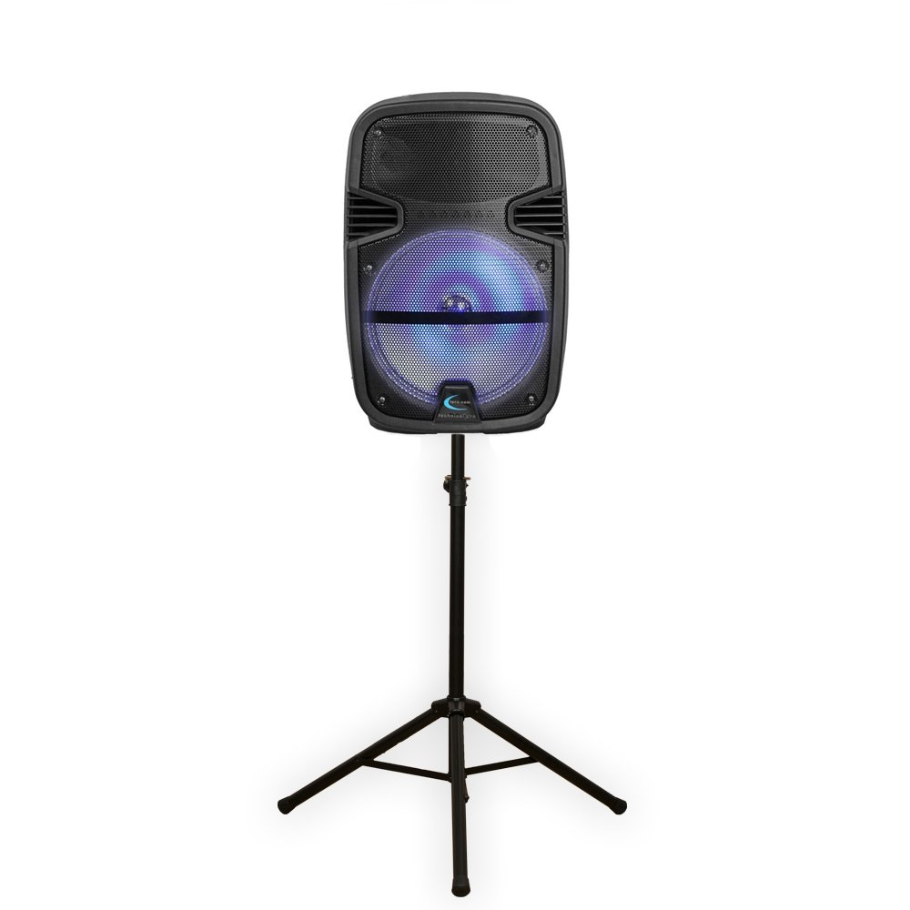 Technical Pro PB1400LED Bluetooth 12'' Powered Speaker with Rechargeable Battery LED Light and Stand