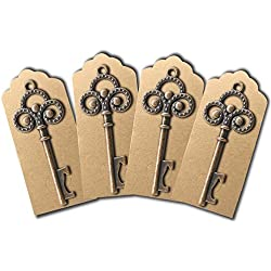 50Pcs Key Bottle Openers Skeleton With 50pcs Escort Card Tags,YuQi Wedding Favors,Wine Bottle Decorative Accessories Sets For Guests Party Rustic,Kid's Birthday,Communion,Baby Showers Home Decorations