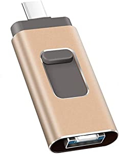 USB Flash Drive 256GB, Kimiandy Type C Flash Drive 256GB for iPhone / iPad Memory Stick Thumb DrivePen Drive (256GB Gold)