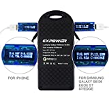 Expower® Quick Charge 2.0 15000mAh Portable External Battery Fast Charger Solar charger with Rain Resist for Samsung Galaxy Note5/ S6 Edge+, S6/S6 Edge and more Smart Device Black (Quick Charge 2.0)