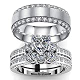 loversring 3pc His and Hers Couple Ring Bridal Set His Hers Women White Gold Plated Heart Cz Man Titanium Wedding Ring Band Set