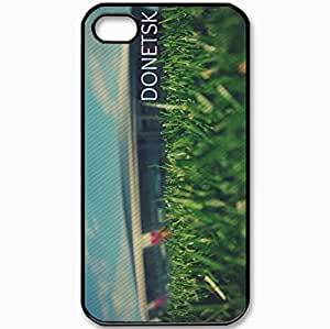 Protective Case Back Cover For iPhone 4 4S Case Donetsk Donbass Arena Stadium Grass Macro Day Black
