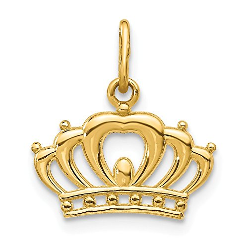 14k Yellow Gold Crown Pendant Charm Necklace Fine Jewelry Gifts For Women For Her (The Cat The Crow And The Crown)
