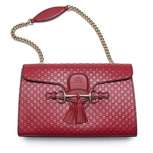Gucci Emily Micro GG Burgundy Guccissima Red Leather Shoulder Handbag Bag - Gucci Designer New