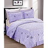 Serenta Faux Fur Ribbon Embroidered 3 Piece Microfiber Bedspread/Quilt Set, King, Lilac